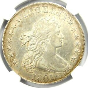 1801 Draped Bust Silver Dollar $1 - Certified NGC AU Details - Rare Coin in AU!