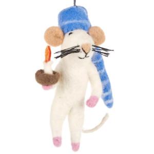 'Bedtime Mouse' Felt So Good Handmade Needle Felt Fair Trade Hanging Decoration