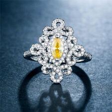 Fashion Women 925 Silver WeddingEngagement Ring Marquise Cut Citrine Size 8
