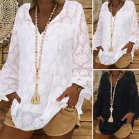 ZANZEA Women Casual V Neck Long Sleeve Tops Casual Loose Shirts Blouse Plus Size