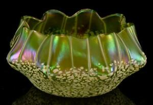 "Very Fine Loetz Art Nouveau Austria Green Art Glass Bowl White 7 1/2""w STUNNING!"
