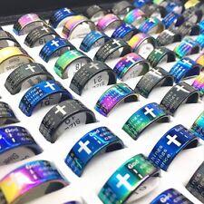 10pcs English the serenity Prayer Cross Stainless Steel Rings for Men Women