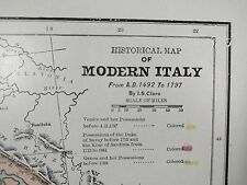 1900 ITALY Map Antique Original Turn of the Century Vintage Rome Milan MAPZ154
