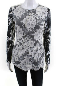 Stella McCartney Womens Back Zip Mesh Lace Front Floral Top Gray Cotton IT 38