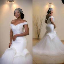 New Plus Size Beads Ruffle Off Shoulder Mermaid Wedding Dress Bride Bridal Gown