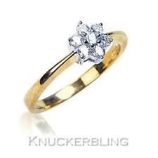 Genuine Diamond Daisy Engagement Ring F VS 0.25ct Brilliant Cut set in 18ct Gold