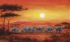 Wand Bild A. Heins Tiere Wildtiere Elefant Malerei Orange 57x99x1,2 cm A1FP