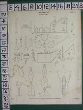 1812 DATED ANTIQUE PRINT ~ CHEMISTRY LABORATORY VARIOUS EQUIPMENT APPARATUS