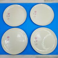 4 Edgerton China First Love Dinner Plates Pink Roses Silver Trim 10.25 Inch USA