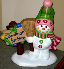 "EC CUTE Snowman for hire home winter holiday decor 7""X7.5"" mantel table figurine"