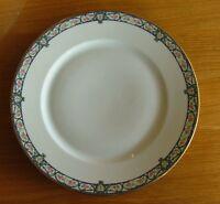 WG & CO. -WM GUERIN , PINK ROSES, BLUE SCROLLS ON RIM  DINNER PLATE