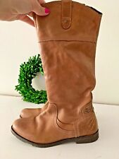 OTBT Leather Biker Camel Brown UNIQUE Made In India Women's Boots Size 8.5 👣ks4
