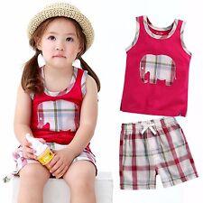 "Vaenait Baby Kid Check Girls Clothes Sleeveles Outfit set ""Jumbo Cherry"" 12M-7T"