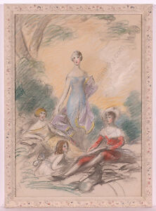"""Adolf Pirsch (1858-1929) """"Lady with Her Children"""", drawing, ca.1900"""