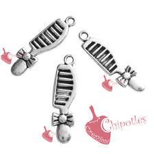 5 CHARMS ciondoli PETTINE 28x7mm col ARGENTO ANTICO antique silver comb pendants