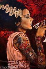 """Lowbrow BRIDE COCKTAIL 12"""" x 18"""" Print Tattoo Bride Frankenstein by Mike Bell"""