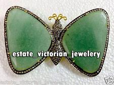Gemstone Silver Butterfly Brooch Jewelry Antique Vintage 4.12ct Rose Cut Diamond