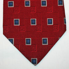 NEW Jos A Bank Silk Neck Tie Red with Dark Blue and Gray Squares 381