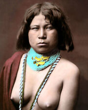 """MOJAVE NATIVE AMERICAN INDIAN WOMAN 8x10"""" HAND COLOR TINTED PHOTOGRAPH"""