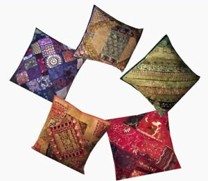 "SET OF 5 - ANTIQUE 24"" ART SARI SEQUIN THROW FLOOR ACCENT CUSHION PILLOW COVERS"