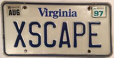 Virginia vanity FORD ESCAPE license plate Car Prison Jail Free Room Film VA Song