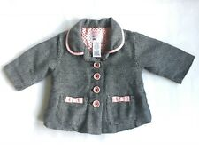 Old Navy Girls 6-12 Months Black White Pink Warm Winter Coat Buttons