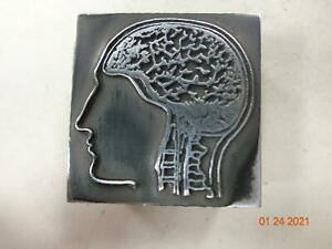 Printing Letterpress Printer Block Antique Human Head & Brain Print Cut