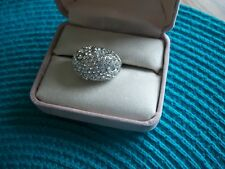 LADIES SILVER AND CZ COCKTAIL RING SIZE 7