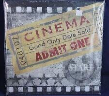 "CINEMA ADMIT ONE MOVIE TICKET SIGN NEW 12"" X 12"" DECOR Board"