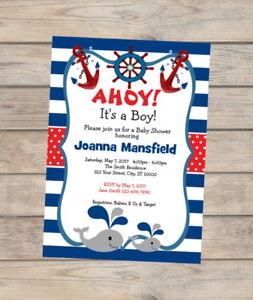 Nautical Baby Shower Invitation, Baby Whale, Navy Stripes Boy Baby Shower Invite