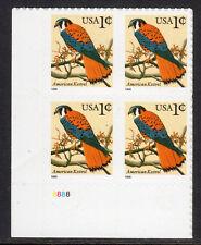 Sc# 3031 1 Cent American Kestrel (1999) MNH PB/4 P# 8888 LL SCV $0.50  Read