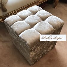 NEW! DRESSING TABLE STOOL BOX STORAGE IN CHAMPAGNE crushed velvet BRAND NEW UK