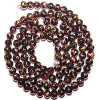 G1794 Burgundy Red Crackle Glass Drawbench Metallic Confetti 8mm Round Bead 32""