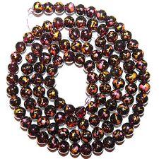 "G1794 Burgundy Red Crackle Glass Drawbench Metallic Confetti 8mm Round Bead  32"""
