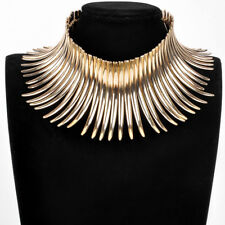 Fashion Gold Chain Strip Canine Shape Charm Choker Chunky Statement Bib Necklace