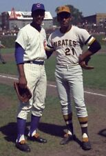 """ROBERTO CLEMENTE & ERNIE BANKS- 8"""" x 10"""" PHOTO- PITTSBURGH PIRATES- CHICAGO CUBS"""