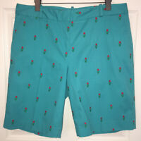 Talbots Turquoise Embroidered Tulips Stretch Flat Front Bermuda Shorts Sz 14 EUC