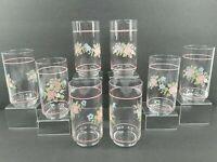 8 Pfaltzgraff Tea Rose 14 Oz Glass Cooler Tumblers Pink Blue Libbey Glasses Set