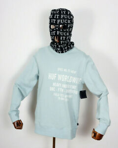 Huf Worldwide Sweatshirt Sweat Crewneck Hoodie Crew Mil-Spec Cloud Blue in M