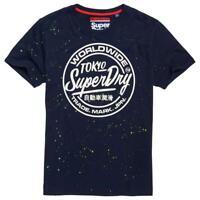 New Superdry T-Shirt Men's Worldwide Tickettype Splat Tee Nautical Navy Sz XL