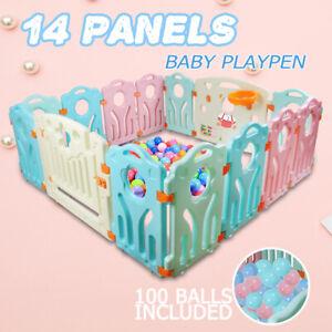 14 Panel Baby Playpen Toddler Children Safety Divider Fence  Indoor +100 balls