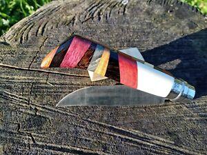 Couteau Opinel n°8 inox custom, os chameau, marqueterie bois précieux et rares.
