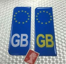 2 x Euro GB Number Plate Blue Stickers Super Shiny Domed Resin Finish