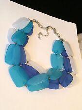 Fresh & Chunky Blue & White Acrylic Bead Statement Necklace #hg7