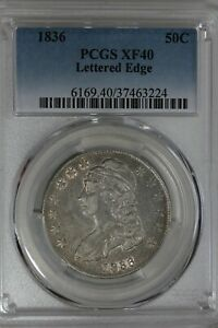 1836   PCGS XF 40 LETTERED EDGES 1800's Capped Bust Half Dollar, Bust