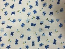"""Royal Blue Butterfly Poly Cotton Print Fabric - Sold By The Yard - 58"""" / 59"""""""