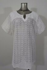 Lucky Brand women's crochet eye-let pattern top blouse white 3X new