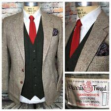 Harris Tweed Brown Beige Herringbone Wool Sport Coat Jacket Mens Size 38 Regular