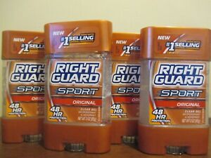 Lot of 4 Right Guard Sport Original Clear Gel Antiperspirant & Deodorant 3 Oz