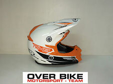 CASCO OFF ROAD CROSS MOTARD ENDURO LAZER MX8 CARBON TECH BIANCO ARANCIO TG M